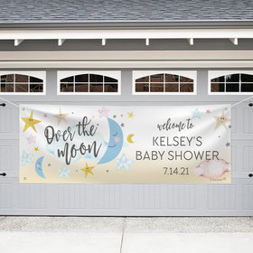 Personalized Garage Baby Shower Banner - Over the Moon