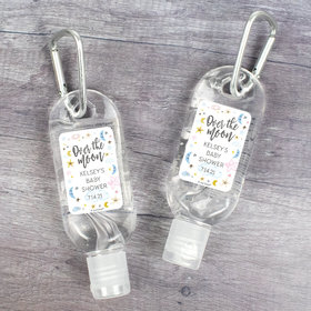 Personalized Baby Shower Hand Sanitizer with Carabiner 1 oz Bottle - Over the Moon