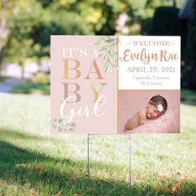 Personalized Baby Girl Birth Announcement - Yard Sign