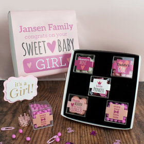 Personalized Baby Premium Gift Box with 5 JUST CANDY® favor cubes - Sweet Baby Girl