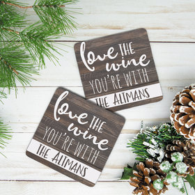 Personalized Neoprene Coaster, Love the Wine You're With