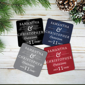 Personalized Neoprene Coaster - Wedding Date (Set of 4)