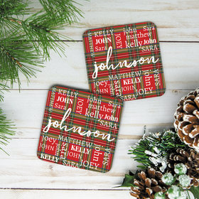 Personalized Cork Coaster, Plaid Family Monogram