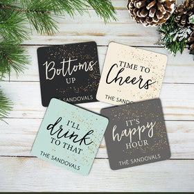 Personalized Cork Coaster - Drink Words (Set of 4)