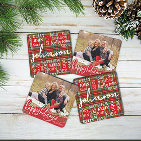 Personalized Cork Coaster - Plaid Word Cloud & Happy Holidays (Set of 4)