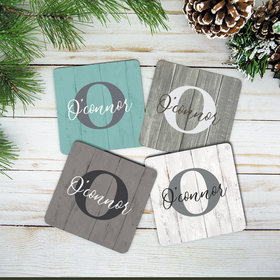 Personalized Cork Coaster - Word Choice Family Name (Set of 4)