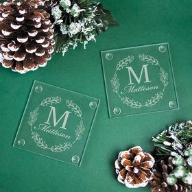 Personalized Glass Coaster, Monogram Wreath