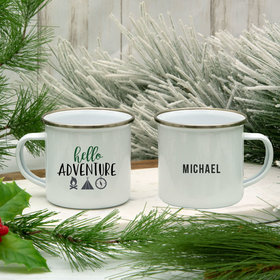 Personalized 11oz White Camper Mug - Hello Adventure