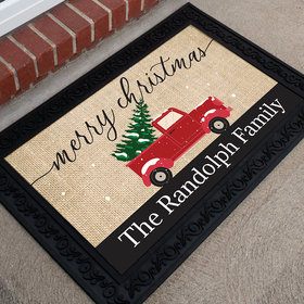Personalized Merry Christmas Doormat Merry Christmas Truck