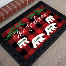 Personalized Doormat Plaid Bear Family of 4