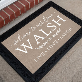 Personalized Doormat Live, Laugh, Love