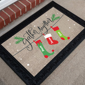 Personalized Doormat Gather Together Stocking Family of 3