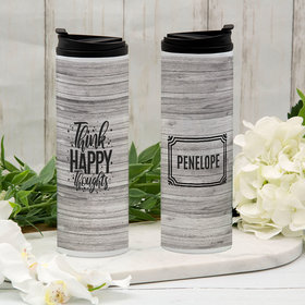 Personalized Think Happy Thoughts Stainless Steel Thermal Tumbler (16oz)