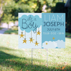 Personalized It's a Boy Yard Sign - It's a Boy Clouds