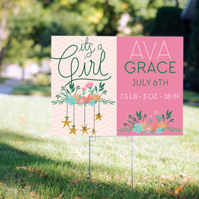 Personalized It's a Girl Yard Sign - It's a Girl Floral