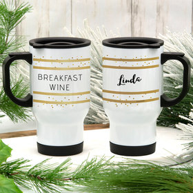 Personalized Breakfast Wine Stainless Steel Travel Mug (14oz)