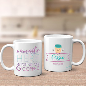 Personalized Namaste Home Drink Coffee Yoga 11oz Mug Empty