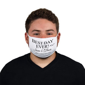 Personalized Best Day Ever Wedding Face Mask
