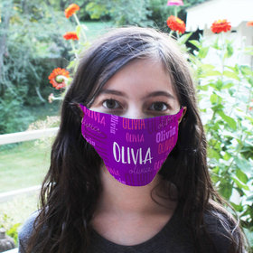 Personalized Purple Repeating Name Facemask