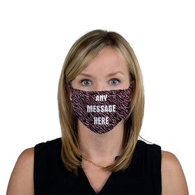 Personalized Pink Zebra Write Your Own Message Face Mask