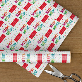 Personalized Merry and Bright Rainbow Christmas Wrapping Paper