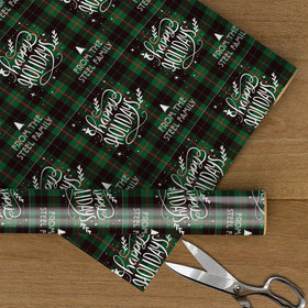 Personalized Plaid Happy Holidays Christmas Wrapping Paper