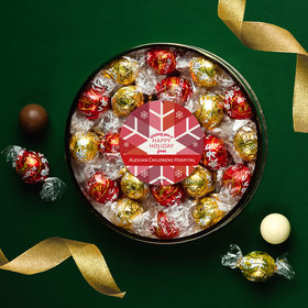 Personalized Christmas Red Snowflake Large Plastic Tin with Lindor Truffles by Lindt - 24pcs