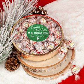 Personalized Christmas Festive Snowflakes Large Plastic Tin Lindor Peppermint Truffles by Lindt (24pcs)