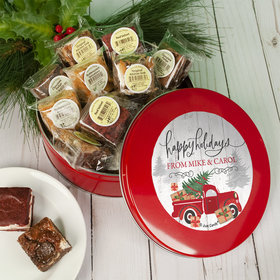 Personalized Rustic Red Truck Tin with Brownies