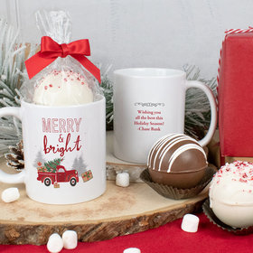 Personalized Rustic Red Truck 11oz Mug with Hot Chocolate Bomb