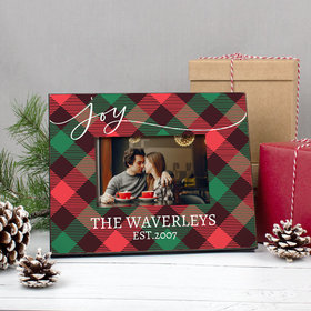 Personalized Picture Frame Christmas Joy Plaid
