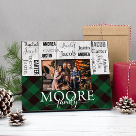 Personalized Picture Frame Christmas Rustic Plaid Family of 5