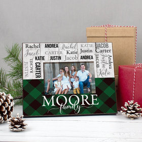 Personalized Picture Frame Christmas Rustic Plaid Family of 6