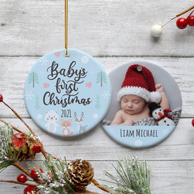 Personalized Baby's First Christmas Woodland Animals Christmas Ornament