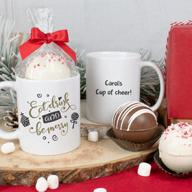 Personalized Eat Drink and be Merry 11oz Mug with Hot Chocolate Bomb