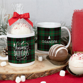 Personalized Happy Holidays in Plaid 11oz Mug with Hot Chocolate Bomb