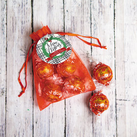 Personalized Merry Christmas Lindor Truffles by Lindt in Organza Bags with Gift Tag