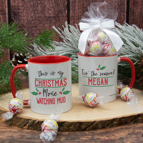 Personalized Christmas Movie Watching 11oz Mug with Lindor Truffles by Lindt