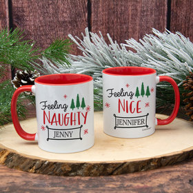 Personalized Feeling Naughty - Nice 11oz Mug Empty