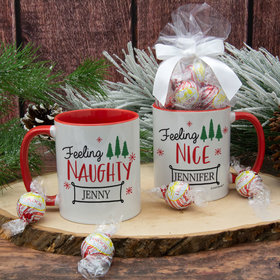 Personalized Feeling Naughty - Nice 11oz Mug with Lindor Truffles by Lindt