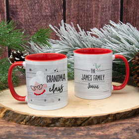 Personalized Santa Elf Family Grandma 11oz Mug Empty