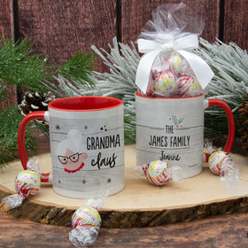 Personalized Santa Elf Family Grandma 11oz Mug with Lindor Truffles by Lindt