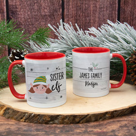 Personalized Santa Elf Family Sister 11oz Mug Empty