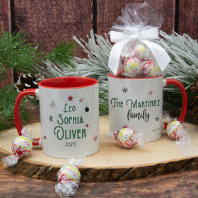 Personalized Christmas Tree Family of 3 11oz Mug with Lindor Truffles by Lindt