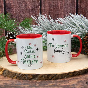 Personalized Christmas Tree Family of 4 11oz Mug Empty