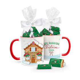 Quarantine Christmas Couple Personalized 11oz Coffee Mug with approx. 24 Wrapped Hershey's Miniatures