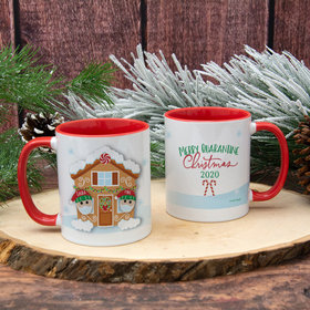 Personalized Quarantine Christmas Couple 11oz Mug Empty