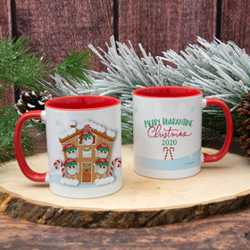 Personalized Quarantine Christmas Family of 5 11oz Mug Empty