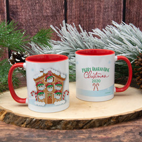 Personalized Quarantine Christmas Family of 6 11oz Mug Empty