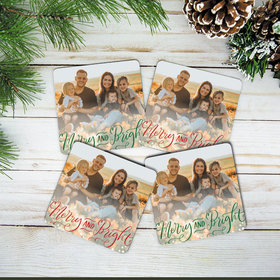Personalized Cork Coaster - Merry & Bright (Set of 4)